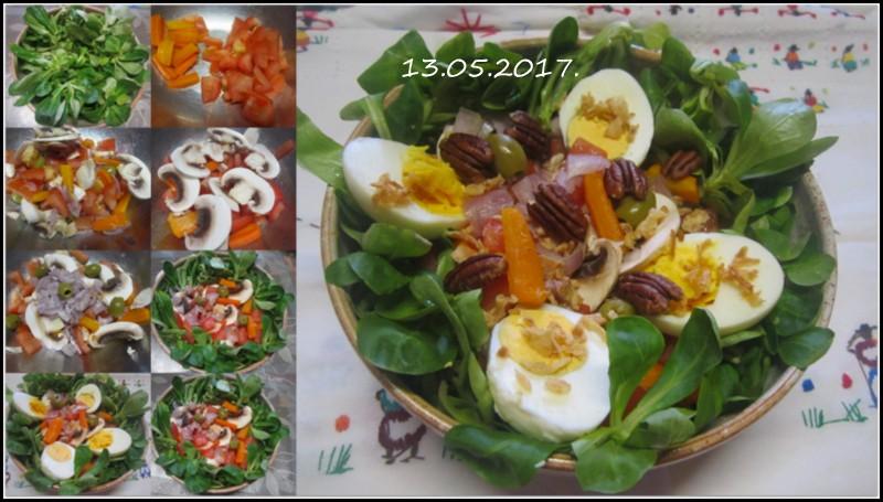 Sur un nid de mâche.œufs/légumes.4. Salade10