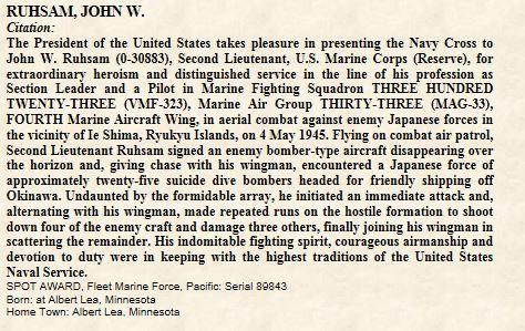 Casque d'un as du VMF-323  Death Rattlers USMC JOHN W RUHSAM Rusham10