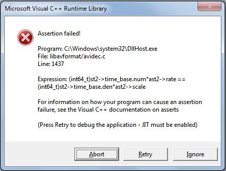 Bug Report: libavcodec/ffmpeg crashes when explorer attemps to create folder icon for certain .avi's Crash11