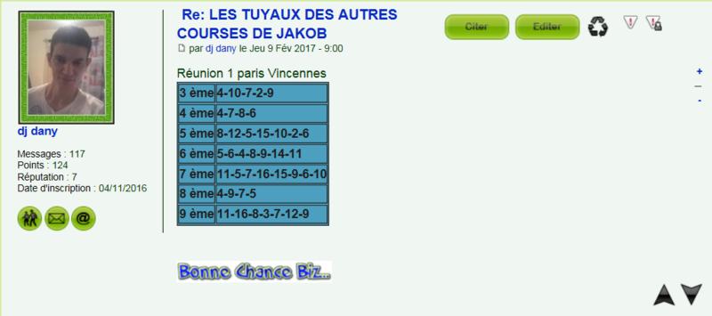 LES TUYAUX DES AUTRES COURSES DE TOUS LES TURFISTES Dany10