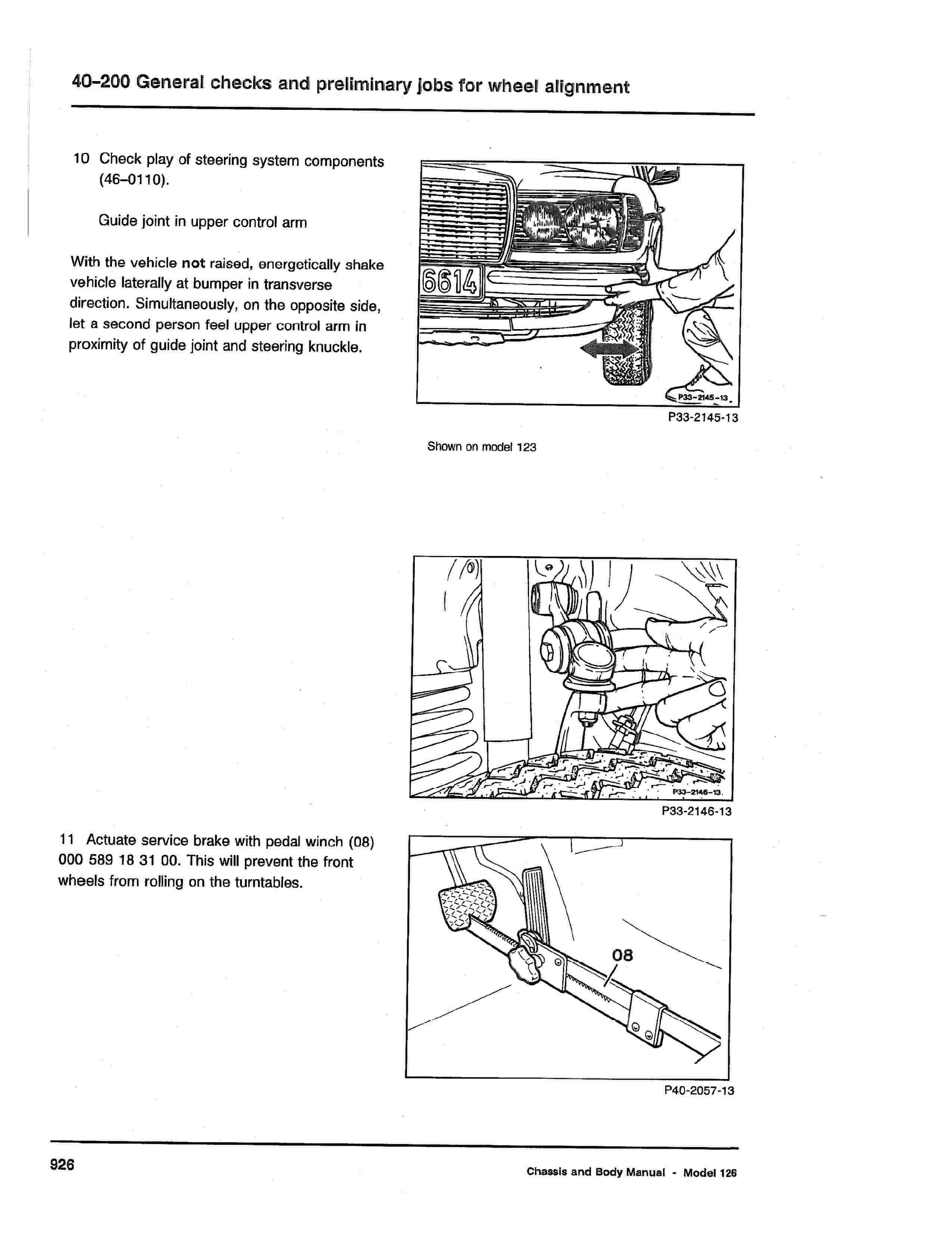 (W126): Procedimento de alinhamento da direção  0003_233