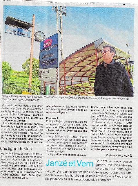 La voie Rennes-Châteaubriant n 'est pas à niveau Scan-238
