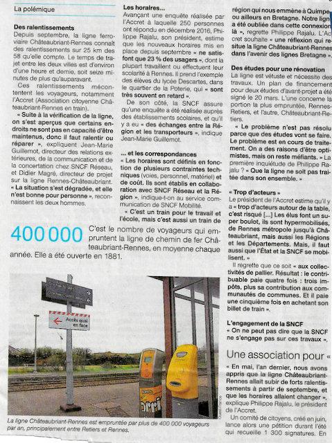 La voie Rennes-Châteaubriant n 'est pas à niveau Scan66