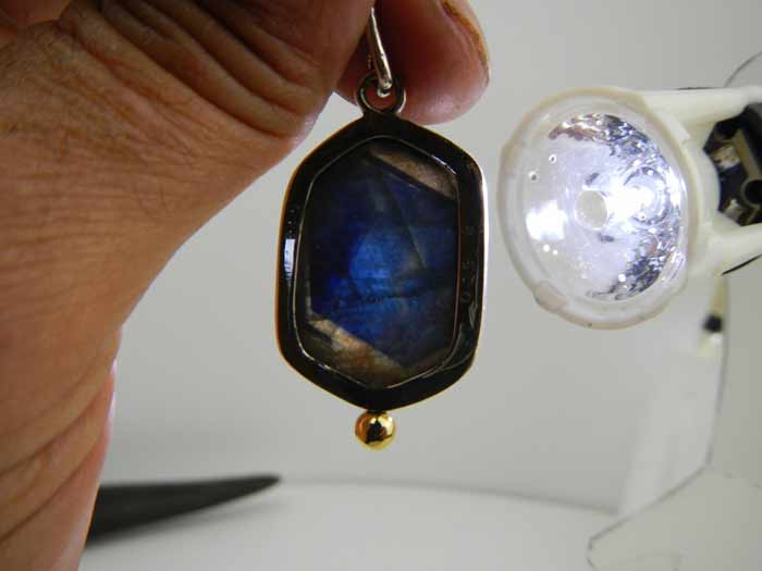 Pendentif argent +  doublet saphir/quartz Dscn9610