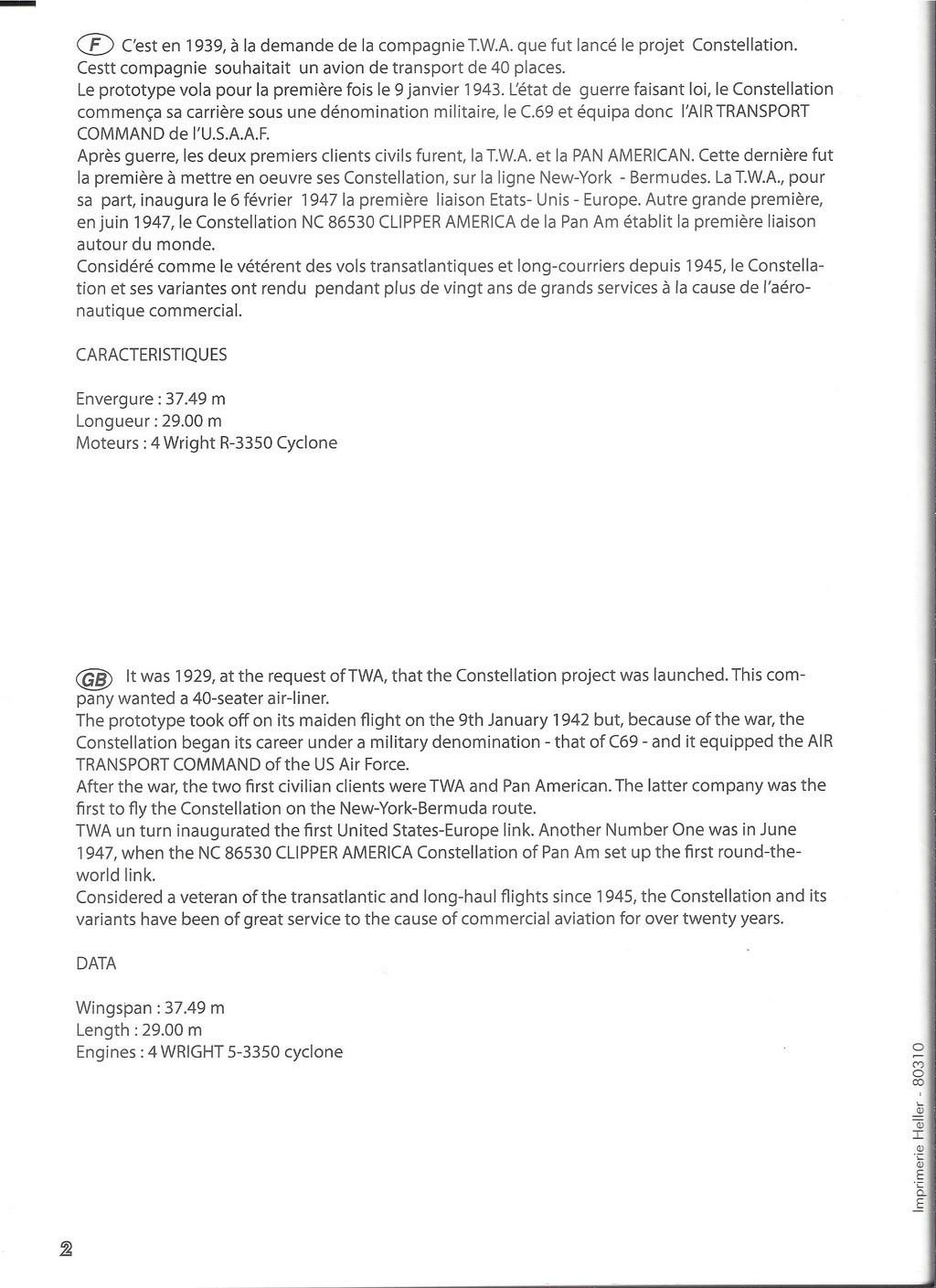 LOCKHEED 749 CONSTELLATION 1/72ème Réf 80310 Notice Hell1784