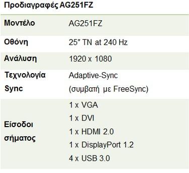 H AOC AGON 240 Hz gaming οθόνη, τώρα διαθέσιμη στην αγορά 134
