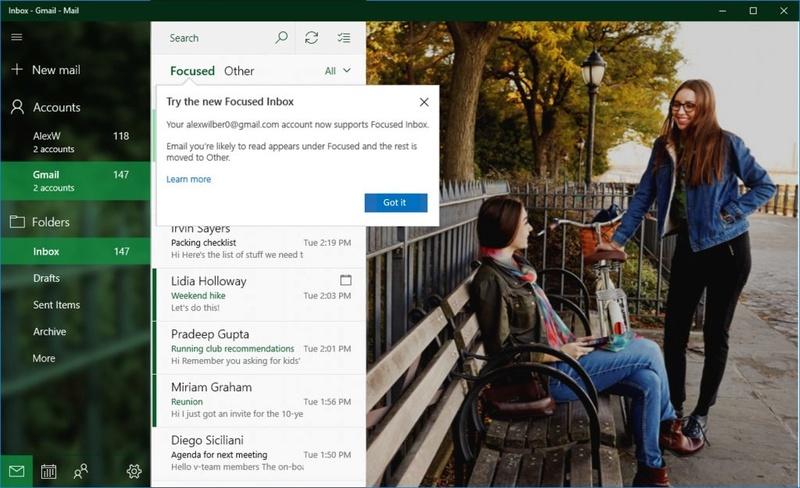 Windows 10: Σύντομα το ηλεκτρονικό σας ταχυδρομείο Gmail στην εφαρμογή Αλληλογραφία στην γραμμή εργασιών Micros12