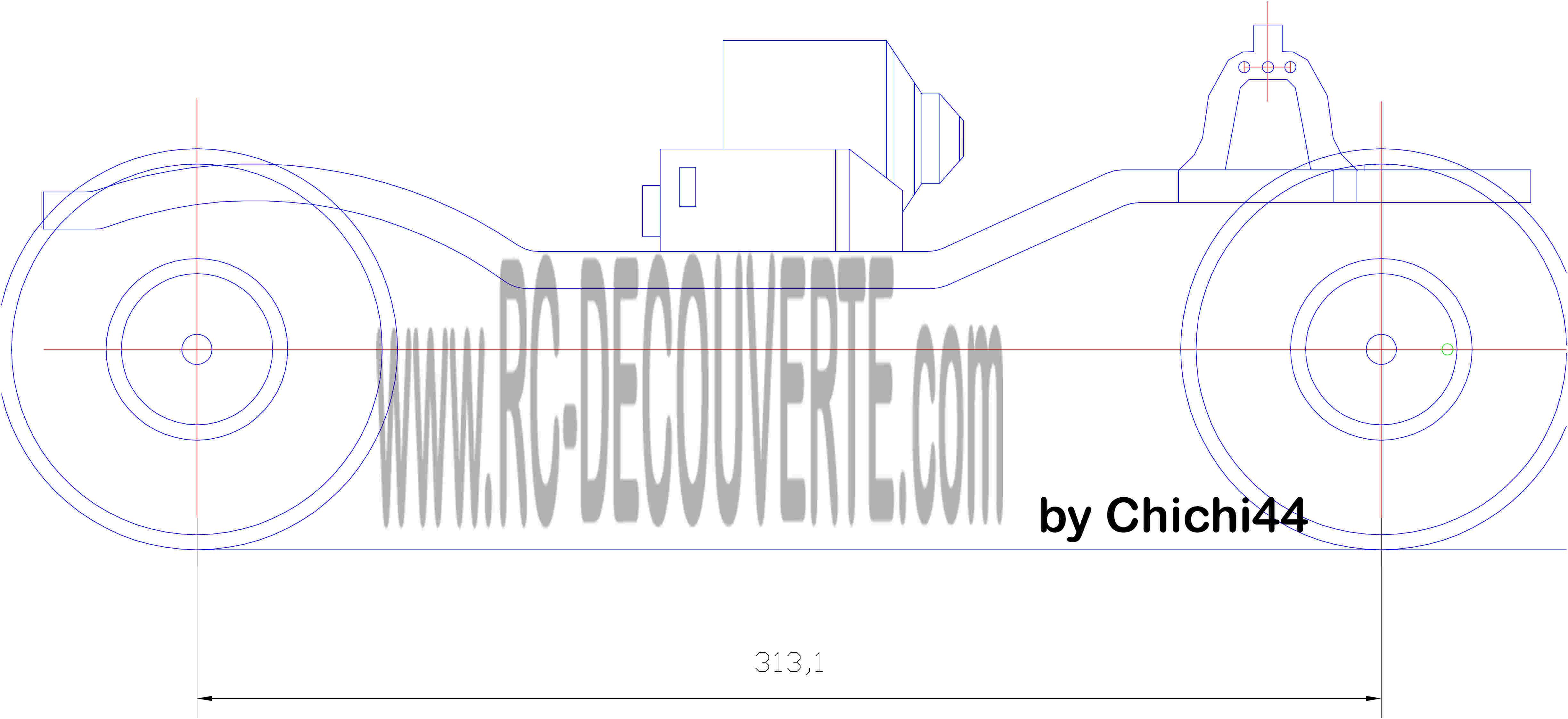 Schéma Tracé Dessin du Chassis Axial Scx10 4x4 6x6 Chassi10