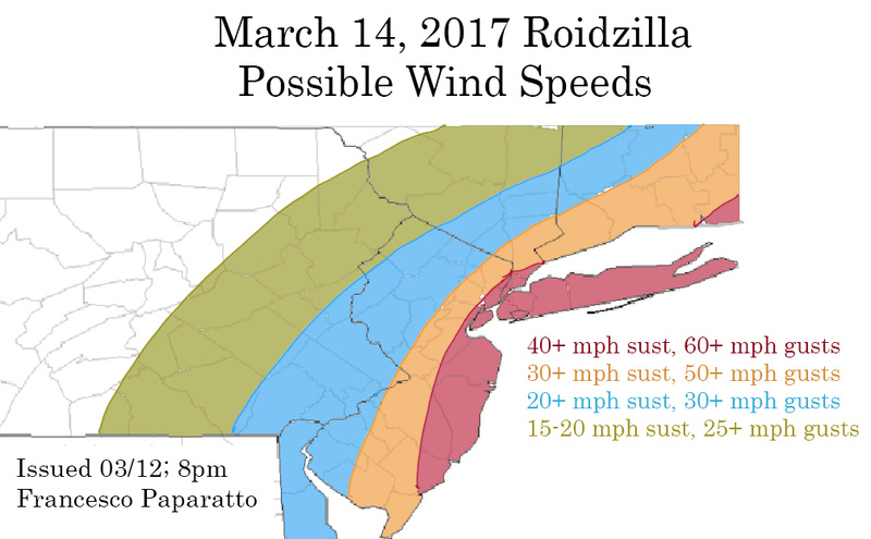 March 14, 2017 Roidzilla 1st Call Snow Map / Synopsis Winds_10
