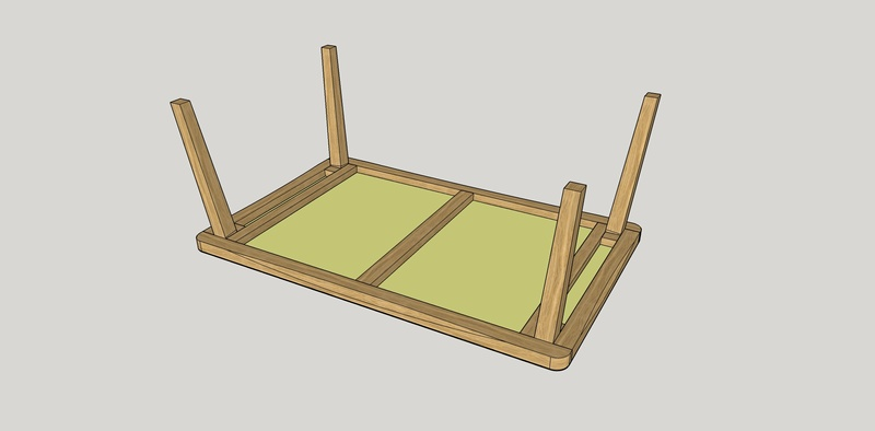 Table basse en chêne Dessou10