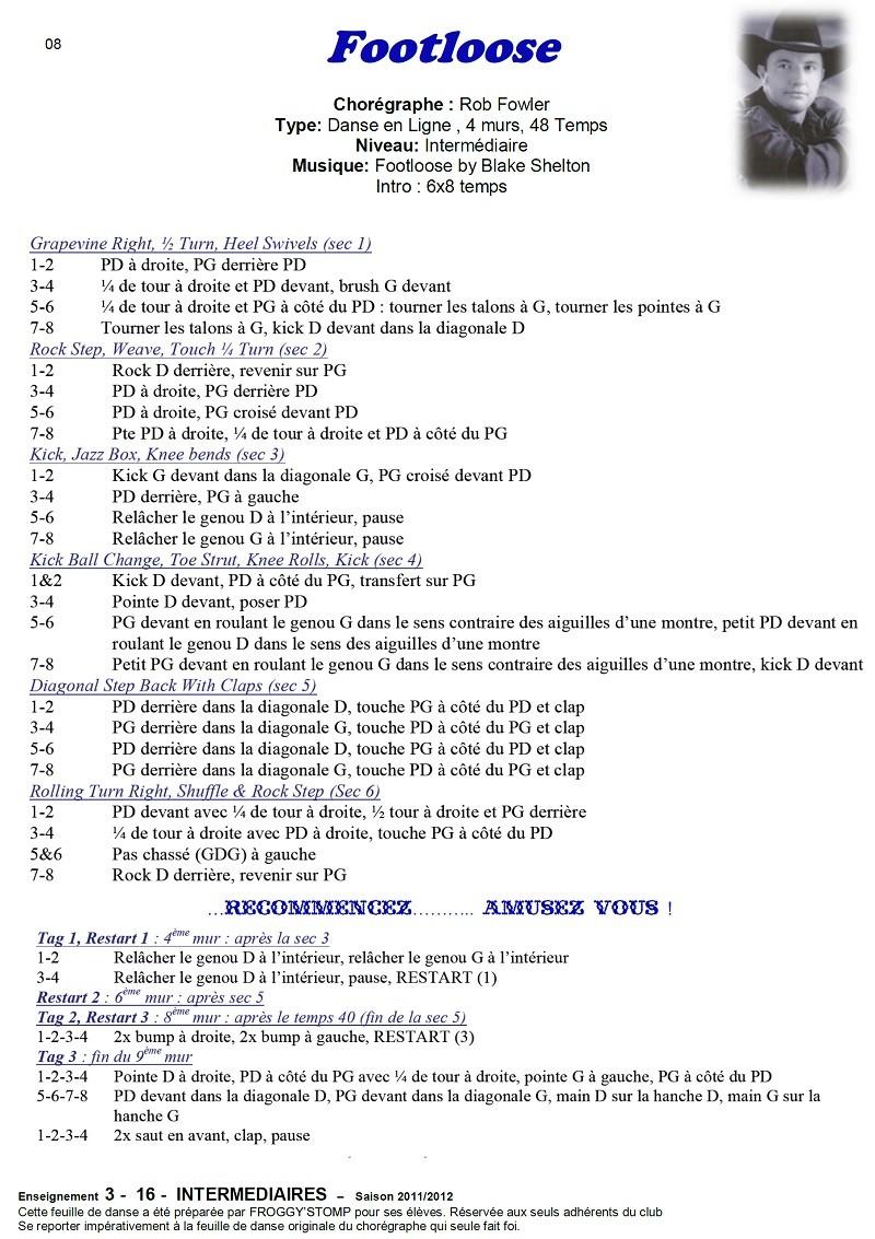2011/ 2012 CHOREGRAPHIES DEBUTANTS NOVICES INTERMEDIAIRES 0811