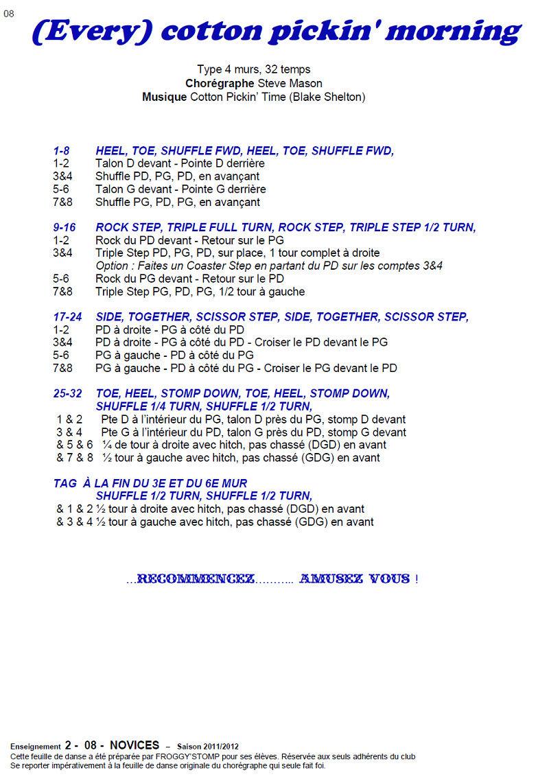 2011/ 2012 CHOREGRAPHIES DEBUTANTS NOVICES INTERMEDIAIRES 0911