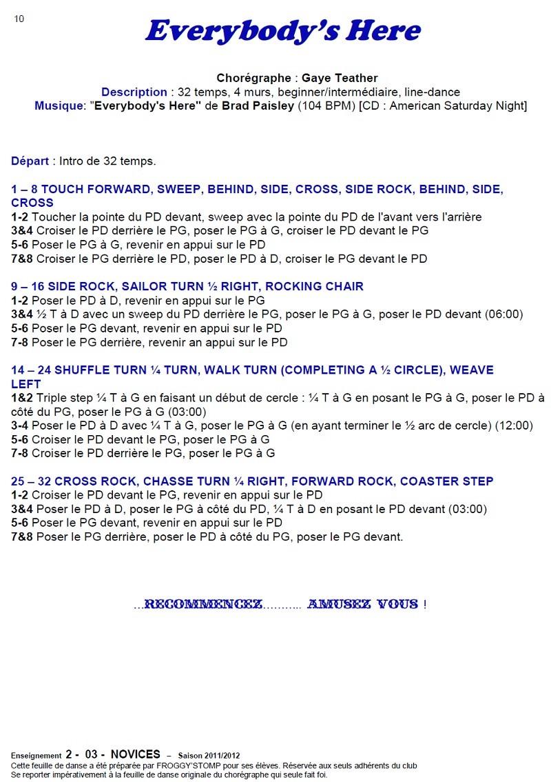 2011/ 2012 CHOREGRAPHIES DEBUTANTS NOVICES INTERMEDIAIRES 1011