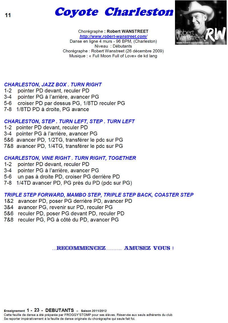 2011/ 2012 CHOREGRAPHIES DEBUTANTS NOVICES INTERMEDIAIRES 1112