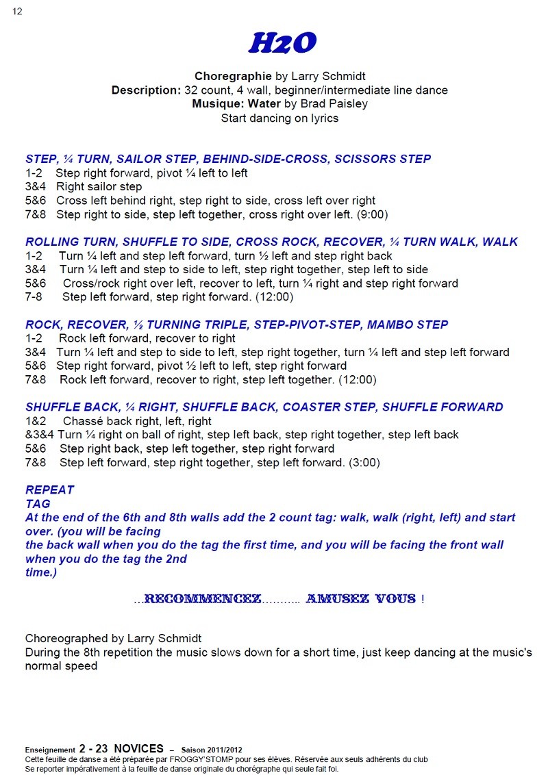 2011/ 2012 CHOREGRAPHIES DEBUTANTS NOVICES INTERMEDIAIRES 1212