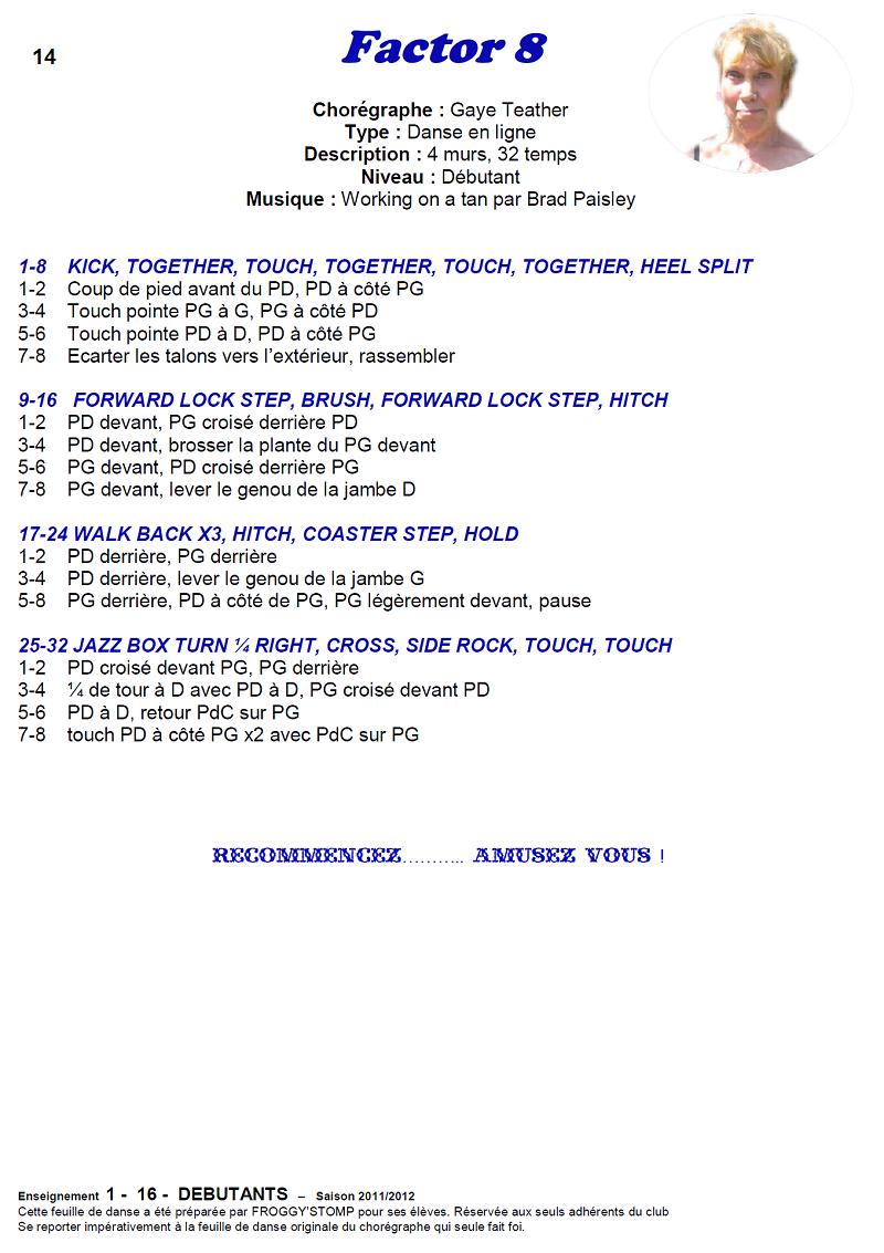 2011/ 2012 CHOREGRAPHIES DEBUTANTS NOVICES INTERMEDIAIRES 1411