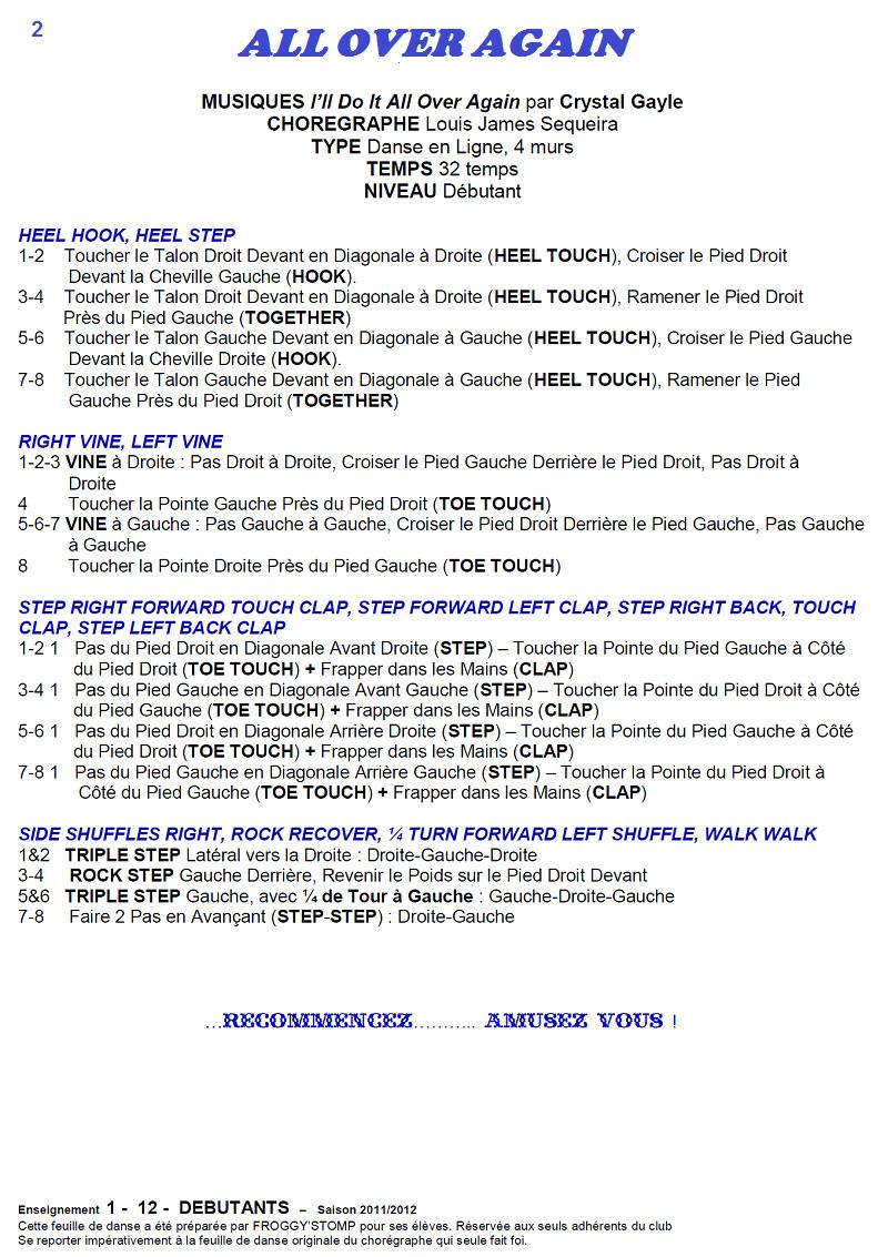 2011/ 2012 CHOREGRAPHIES DEBUTANTS NOVICES INTERMEDIAIRES 211