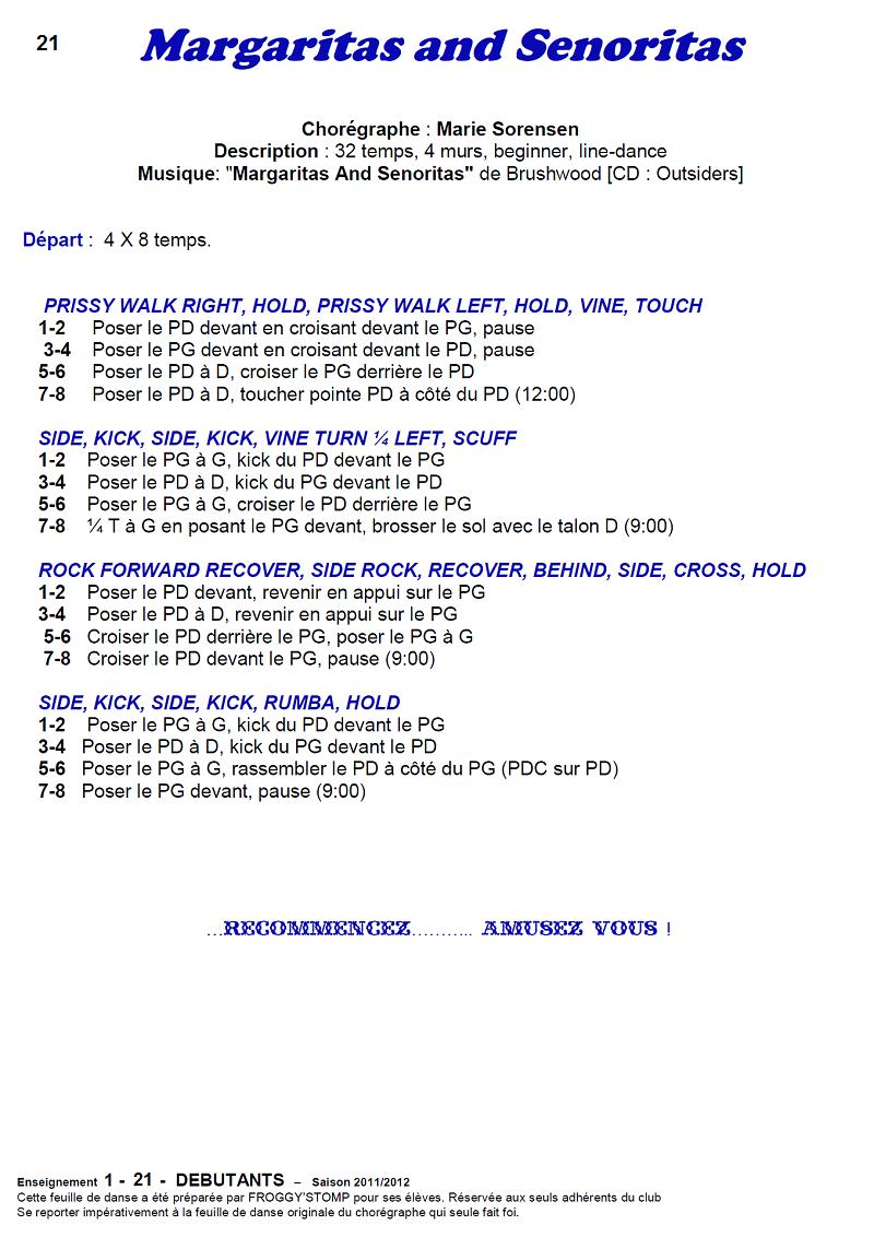 2011/ 2012 CHOREGRAPHIES DEBUTANTS NOVICES INTERMEDIAIRES 2111
