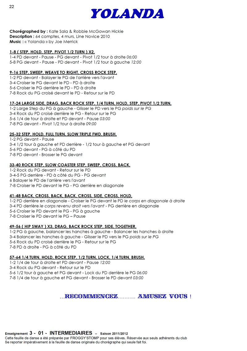 2011/ 2012 CHOREGRAPHIES DEBUTANTS NOVICES INTERMEDIAIRES 22_i_11