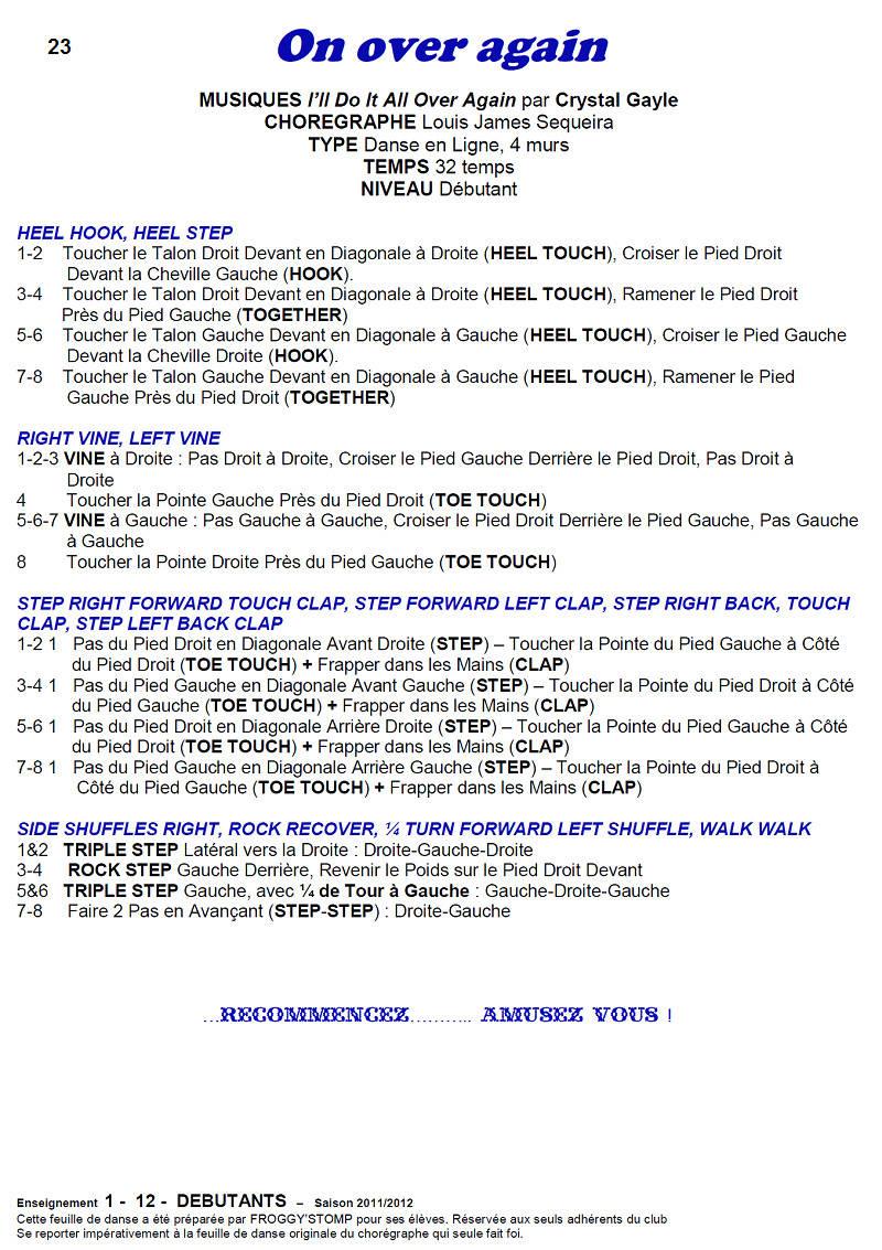 2011/ 2012 CHOREGRAPHIES DEBUTANTS NOVICES INTERMEDIAIRES 2311