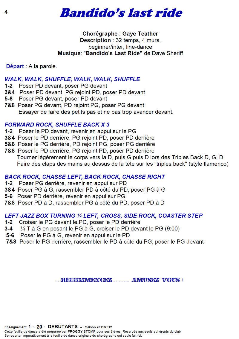 2011/ 2012 CHOREGRAPHIES DEBUTANTS NOVICES INTERMEDIAIRES 411