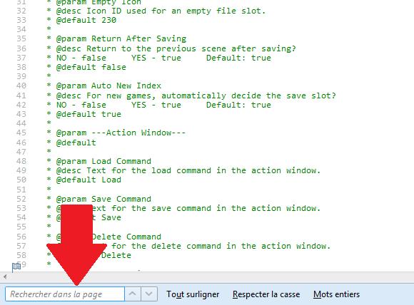 Modifier le fond bleu des plugins de menu de Yanfly Tuto210