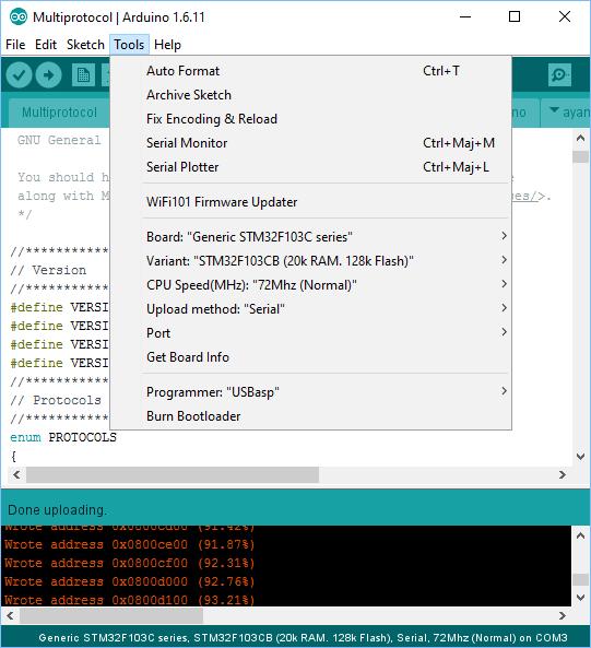 [TUTO] Customisation sous Arduino du module multiprotocole BG 4 en 1 STM32 Captur28