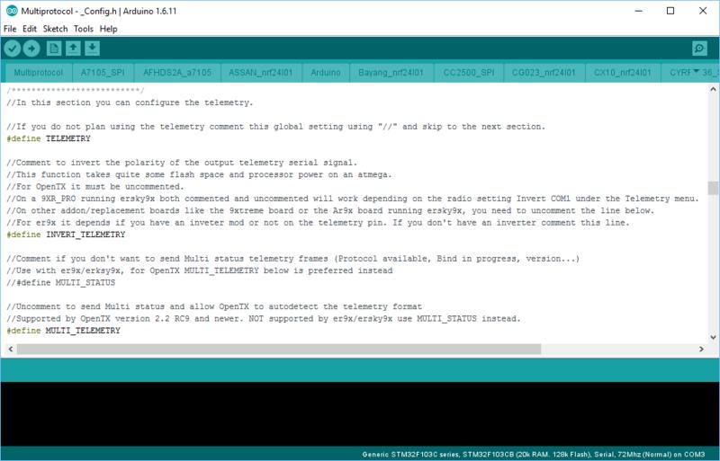 [TUTO] Customisation sous Arduino du module multiprotocole BG 4 en 1 STM32 Captur30