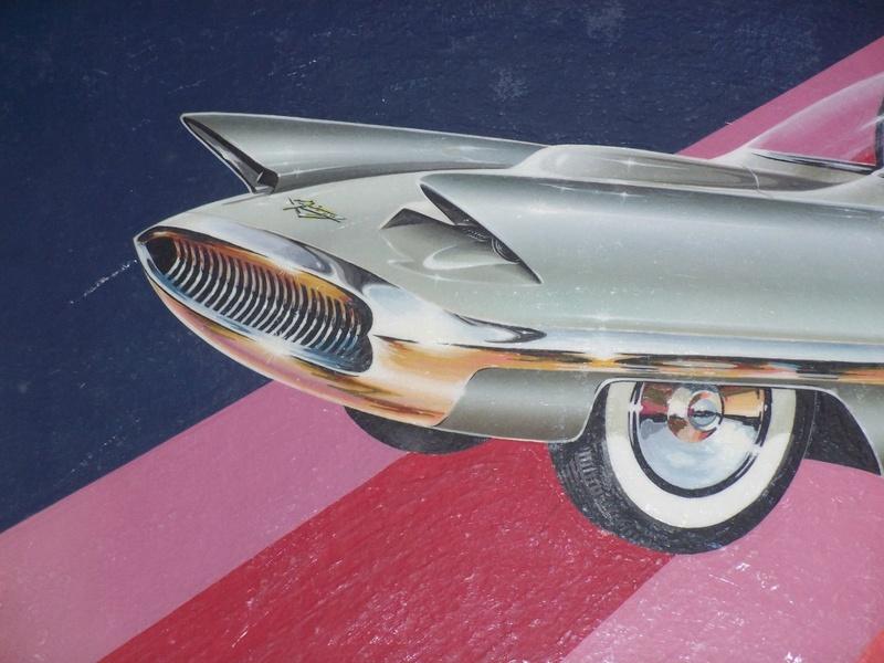 """REVELL- LINCOLN FUTURA-ORIGINAL """"S"""" KIT BOX ART - La peinture originale de la boite de la Futura Revell datant des 1950s!!! 237"""