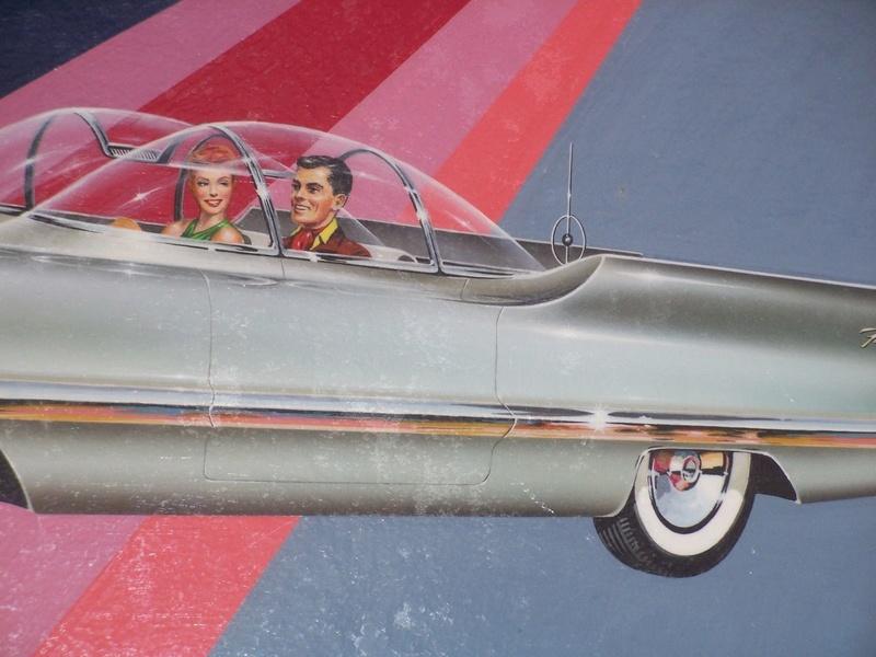 """REVELL- LINCOLN FUTURA-ORIGINAL """"S"""" KIT BOX ART - La peinture originale de la boite de la Futura Revell datant des 1950s!!! 440"""