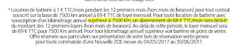 [Achat/Location Zoé neuve du 04/05 au 30/06][Loyer batterie] à 1 €/mois pendant 12 mois via Vente-Privée Zp210