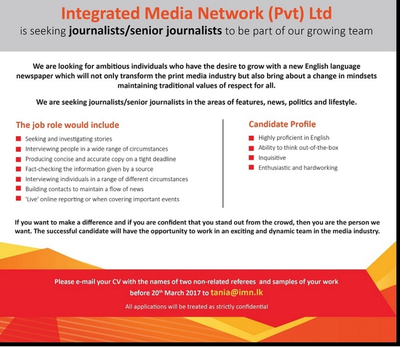 Sri Lanka: Young Bond King Arjun Aloysius' Media Company iMN (Integrated Media Network) in Search of Journalists Imns_a10