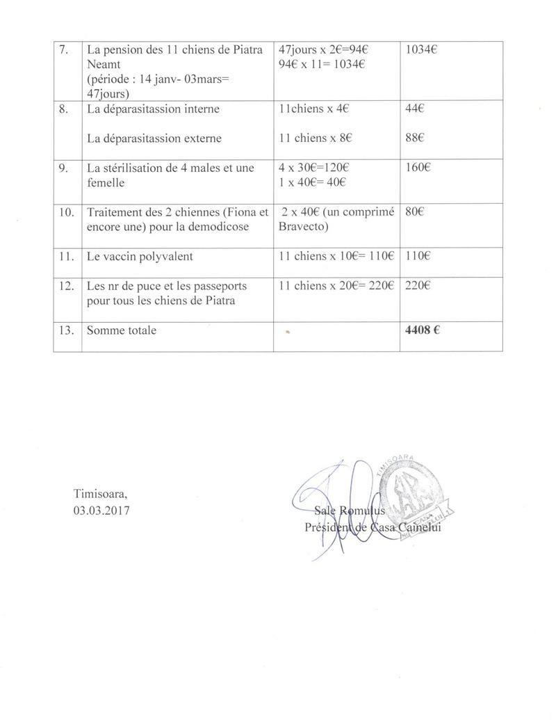 Transfert de 12 chiens de la fourrière de Piatra Neamt vers Timisoara 7 janvier 2017 ? - Page 2 Factur10