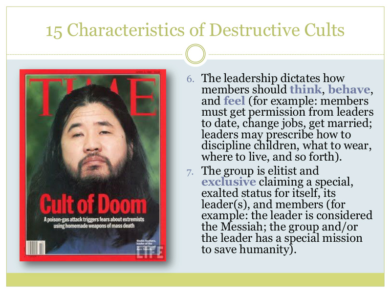 """15 Characteristics of Destructive Cults"" = One Who Knows/Richard McKim, Jr. 5/19/17 13216-11"