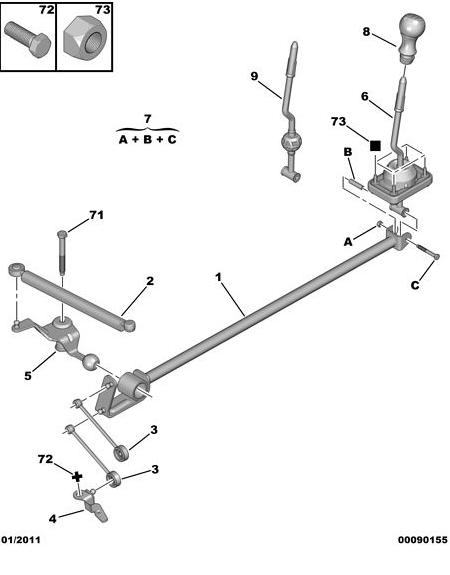 Jeu levier de vitesse (TU5JP4 boite MA) Boite10
