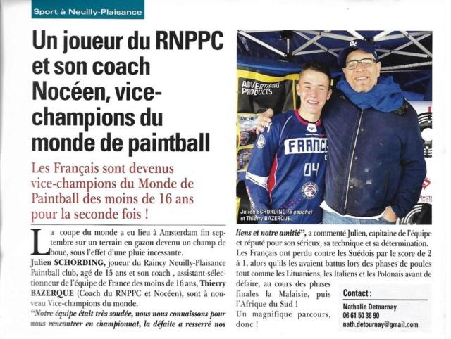 Article Presse: Un joueur du RNPPC et son coach Nocéen, Vice Champions du monde de Paintball 1912ar10