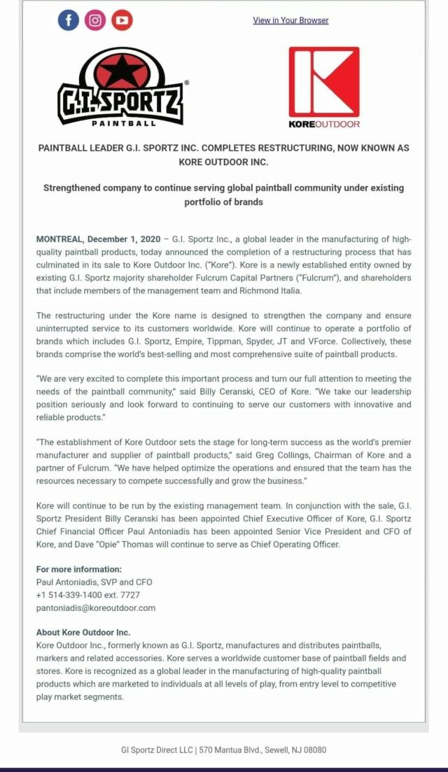 Official Press Release: GI Sportz Restructuration Kore 20gisp10