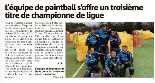 Article Presse: L'équipe de Paintball s'offre un 3ième titre de championne de ligue (France) Articl13