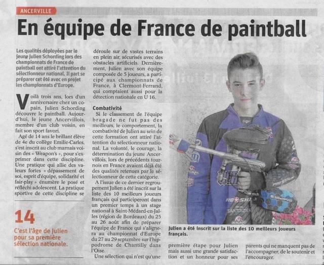 Article Presse: En équipe de France de Paintball (France) Esrep010