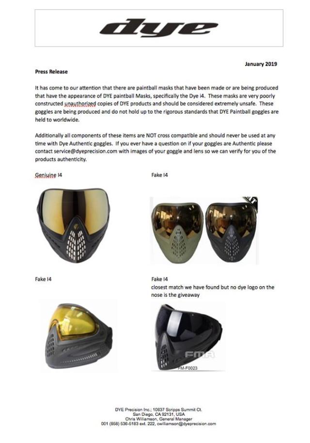 Communiqué de Presse Dye: Contrefaçon de masques Prdyei10