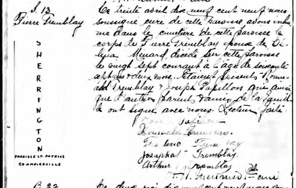 Mariage de Pierre Tremblay avec Célina Ménard Dyces_10