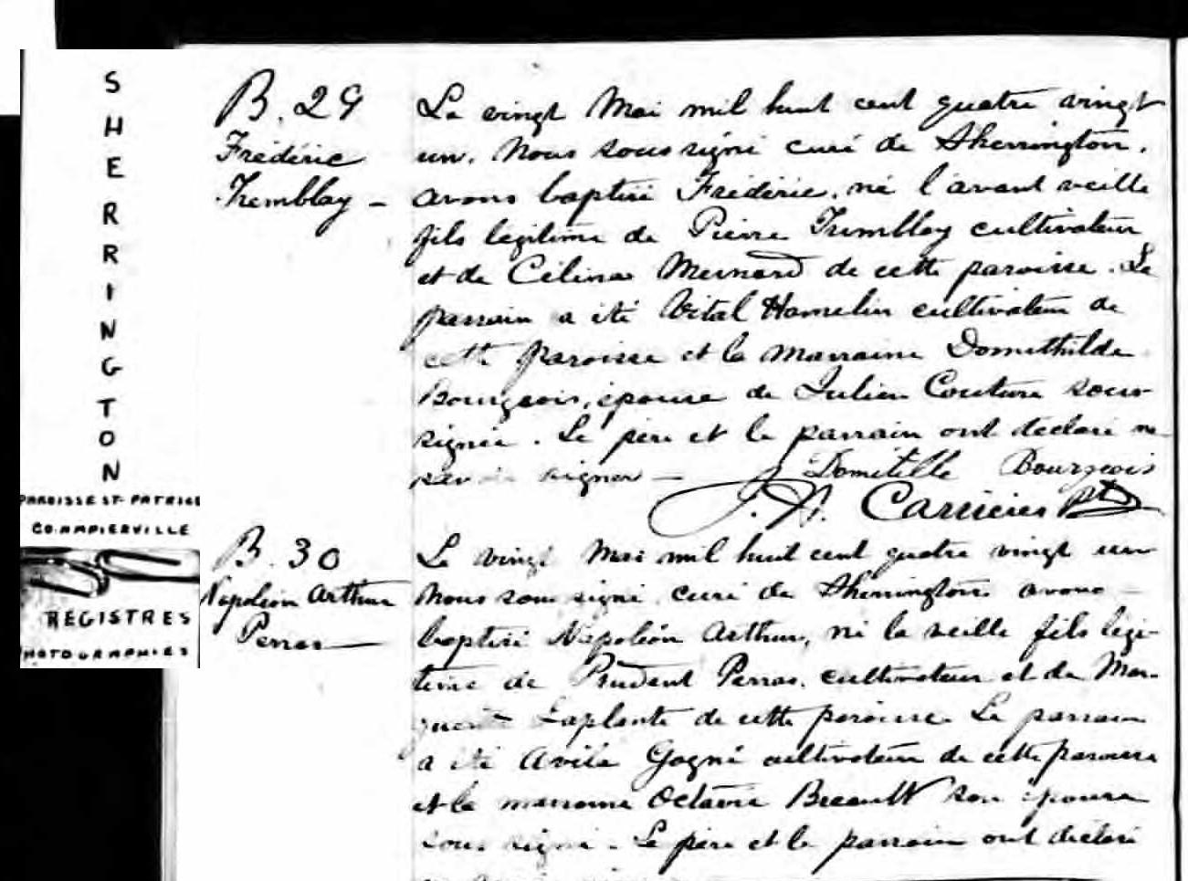 Mariage de Pierre Tremblay avec Célina Ménard Naissa10
