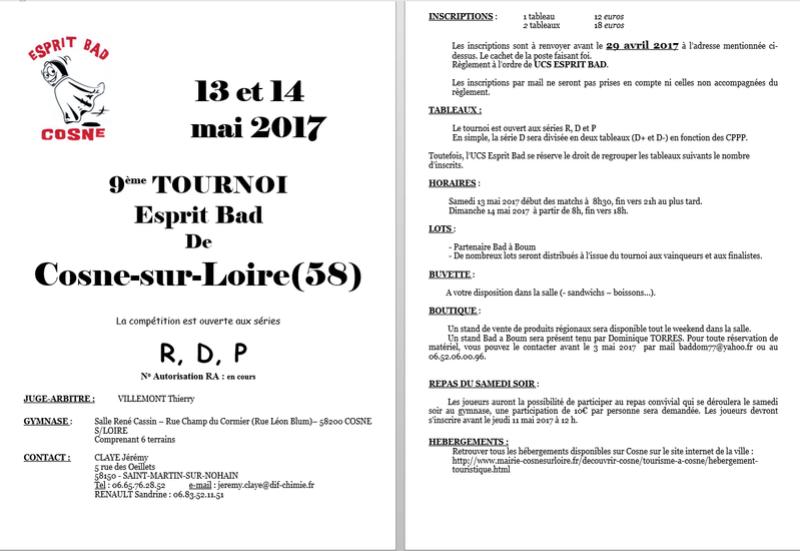13 et 14 mai 2017   TOURNOI  Bad De Cosne-sur-Loire(58) 2017-012