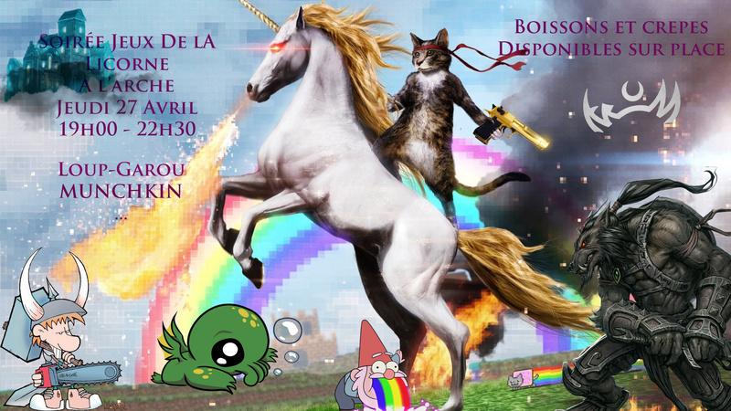 Soirée Jeux de la licorne le 27 avril ! Affich10