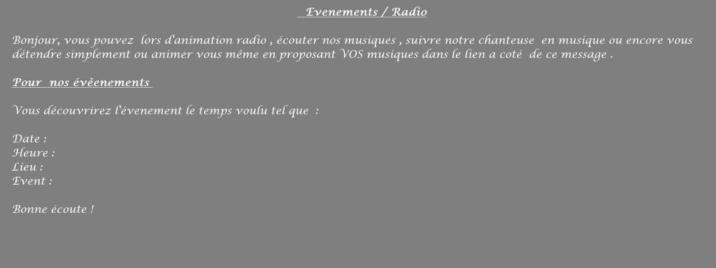 La Radio / Evenements F1010