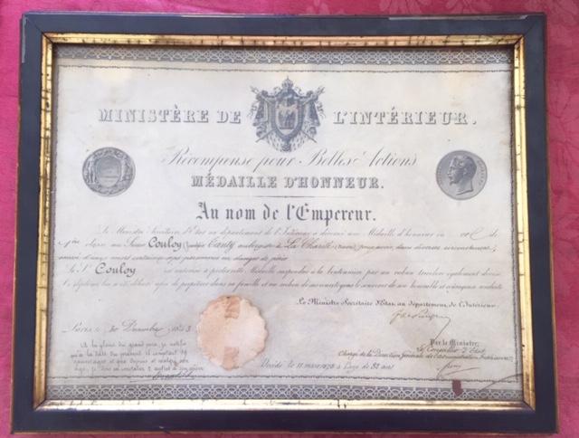 Médaille d'honneur ministère de l'intérieur II empire en or massif + diplôme Img_3521