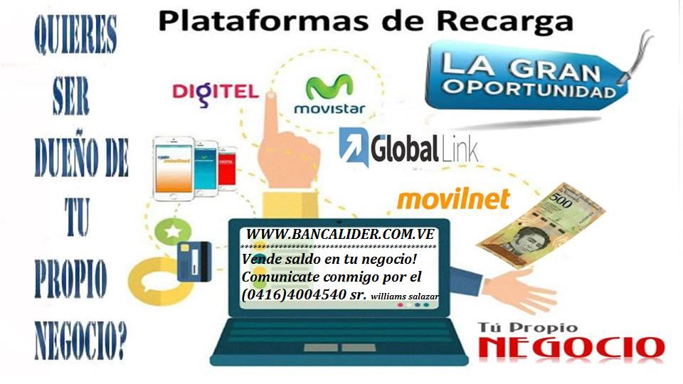 SISTEMA DE RECARGAS TELEFONICAS VENDE SALDO CON NOSOTROS (0416)4004540 Banner17