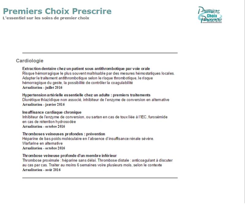 Premiers Choix Prescrire (Revue prescrire) - Cardiologie  Presc10