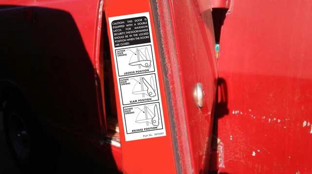 Door latch label V10