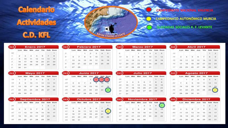 """Calendario Actividades """"Kayak Fishing Levante"""" Calend14"""